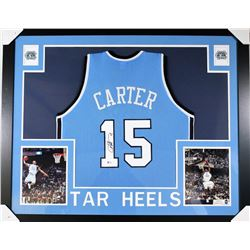Vince Carter Signed North Carolina Tar Heels 35x43 Custom Framed Jersey (Beckett COA)