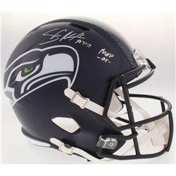 Shaun Alexander Signed Seahawks Full-Size Speed Helmet Inscribed  MVP -05-  (Beckett COA)