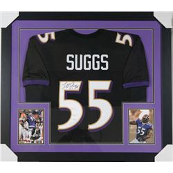 Terrell Suggs Signed Ravens 31x35 Custom Framed Jersey (JSA COA)