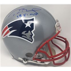 Tom Brady Signed Patriots Full-Size Authentic On-Field Helmet Inscribed  SB 51 MVP  (Steiner COA  Tr