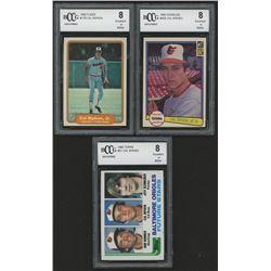 Lot of (3) BCCG Graded 8 Cal Ripken Jr. Baseball Cards with 1982 Fleer #176 RC, 1982 Donruss #405 RC