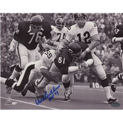 Dick Butkus Signed Bears 8x10 Photo Inscribed  HOF 79  (Schwartz COA)