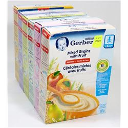 6 ASSORTED BOXES OF GERBER CEREAL