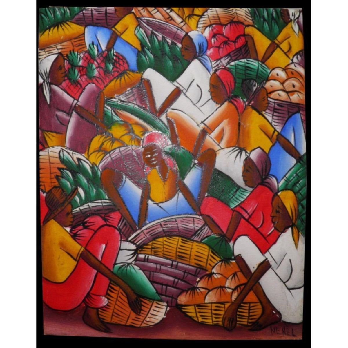 At Wednesday Farmers Market I Signed >> Signed Acrylic Painting Haitian Farmers Market Ready To Frame