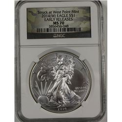2014 (W) AMERICAN SILVER EAGLE NGC MS70