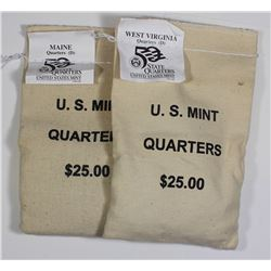 2-MINT SEWN BAGS STATE QUARTERS