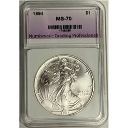 1994 AMERICAN SILVER EAGLE NGP GRADED