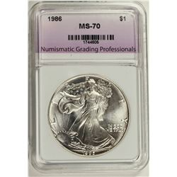 1986 AMERICAN SILVER EAGLE NGP GRADED