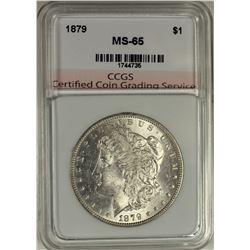 1879 MORGAN SILVER DOLLAR CCGS GRADED