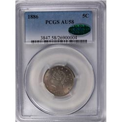 1886 LIBERTY NICKEL PCGS AU 58 CAC