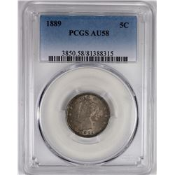 1889 LIBERTY NICKEL PCGS AU 58