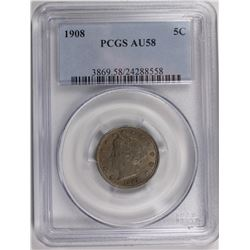 1908 LIBERTY NICKEL PCGS AU 58