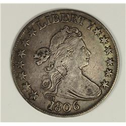 1806 POINTED 6 BUST HALF DOLLAR VF/XF
