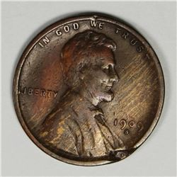 1909-S LINCOLN CENT FINE MINT ERROR ON OBVERSE