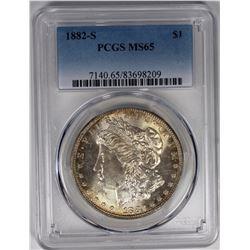 1882-S MORGAN SILVER DOLLAR PCGS MS65