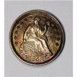 1853 ARROWS HALF DIME GEM BU COLOR!