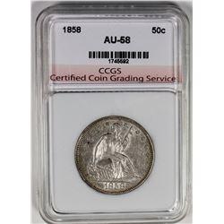 1858 SEATED HALF DOLLAR CCGS AU/UNC