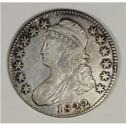 1822 BUST HALF DOLLAR 2 OVER 1 AU