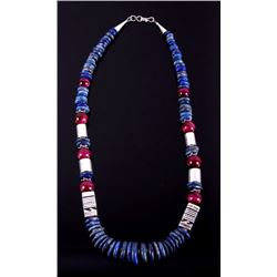 Navajo T&R Singer Discodial Lapis Lazuli Necklace