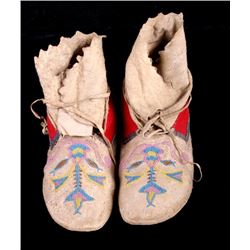 Santee Sioux Beaded High-Top Moccasins c. 1880-90
