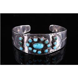 Navajo Sleeping Beauty Turquoise & Silver Bracelet
