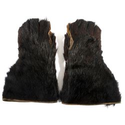 Black Bear Fur Gauntlet Gloves c. Early 1900's