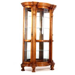 Carved Ornate Curved Glass Curio Cabinet w/