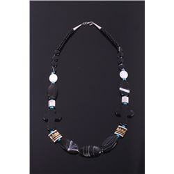 Navajo T Singer Onyx Cross Necklace