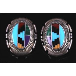 Jon McCray Navajo Multistone Inlaid Earrings