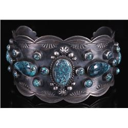 Navajo Sterling Silver & Number 8 Turquoise Cuff