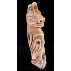 Tlingit Bear Carved Whale Bone & Abalone Totem