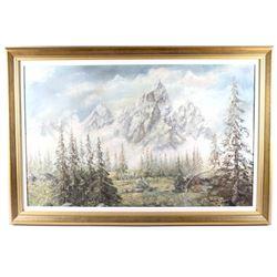 Original W. Gisin Teton Mountains Oil Painting