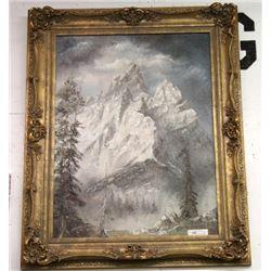 """W. Gisin 'The Grand Teton Mountains """" Oil Painting"""