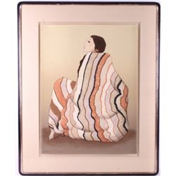 "R.C. Gorman ""Woman with Striped Blanket"" Litho"