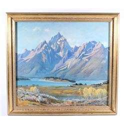 Olaf Moller Oil On Canvas Mountain Landscape
