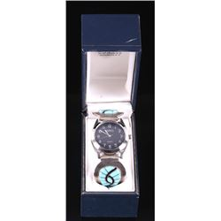 Zuni Signed Turquoise Stainless Steel Watch