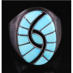 Signed Zuni Turquoise & Sterling Silver Ring