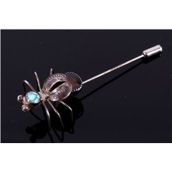 Navajo Sterling, Turquoise & Agate Insect Pin