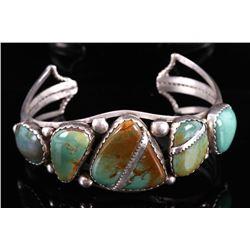 Navajo Royston Turquoise & Silver Bracelet