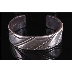 Navajo Heavy Stamped Coin Silver Bracelet