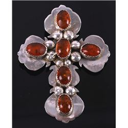 Signed Navajo Sterling Silver and Amber Cross Pin