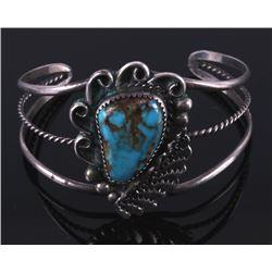 Navajo Sivler and Pilot Mtn. Turquoise Bracelet