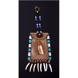 Plains Indian Bison Tooth & Beaded Medicine Pouch