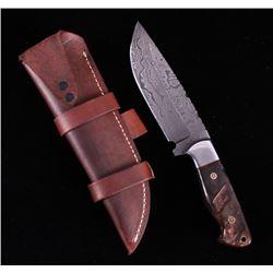 CFK Damascus Rocky Mountain Ram Inlaid Knife