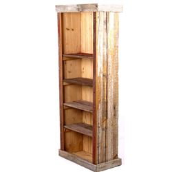 Rustic Handcrafted Pine Log Bookshelf
