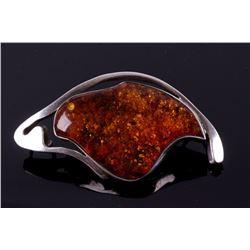 Navajo Silver and Amber Bear Effigy Pin