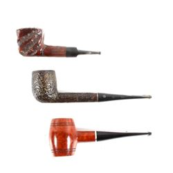 Collection of Three Briar Wood Smoking Pipes