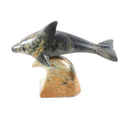 Miles Metzger Soapstone Dolphin & Wave Statue 1986