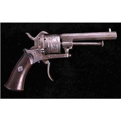 Engraved Belgian Folding Trigger Pinfire Revolver