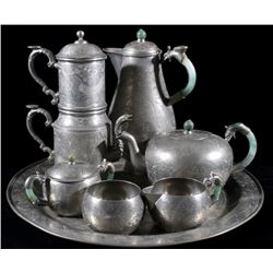 Chinese Pewter and Jade Coffee & Tea Set
